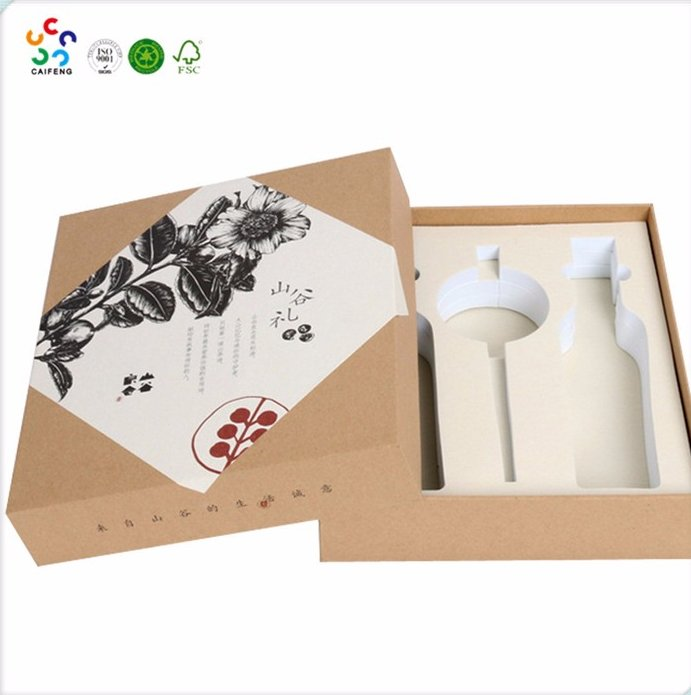 customized Printed single wine bottle paper box wine glass gift box with EVAinsert