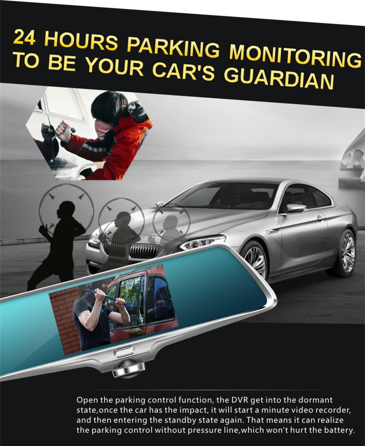 360 Backup And Monitor Kit Reverse Infrared Camera For Car dvr with dual lens FHD car dash cam