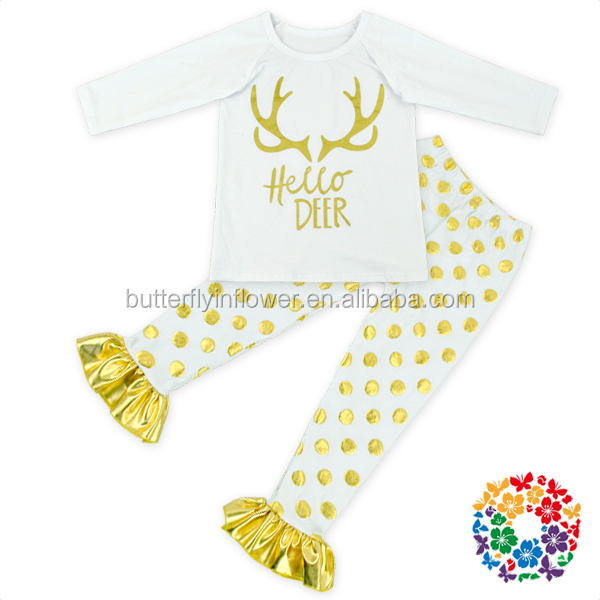 Long Sleeves White Gold Deer Knit Cotton Shirts and Ruffle White Gold Dots Pants set Girls clothing wholesale