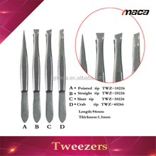 Wholesale good quality disposable metal eyebrow slanted tweezers