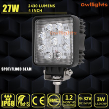 RAV, SUV 27w 12v led driving light square 4 inch 27w led spot light motorcycle scooter auto parts 27w led work light for 4x4