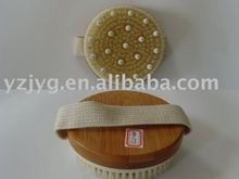 Bamboo body massager product with pig bristle and rubber massager
