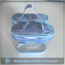 transparent pvc cosmetic pouch bag with handle and zip closure