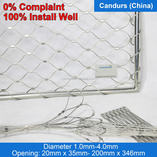Easily Install Architectural Flexible Stainless Steel Wire Rope Diamond Ferruled Mesh