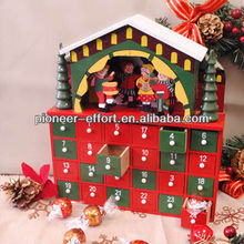 Christmas decoration wooden advent calendar house with 24 drawers