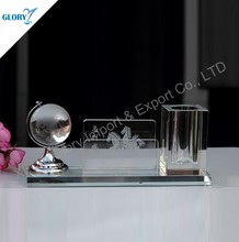 Trade assurance glass pen holder with world map for business gift