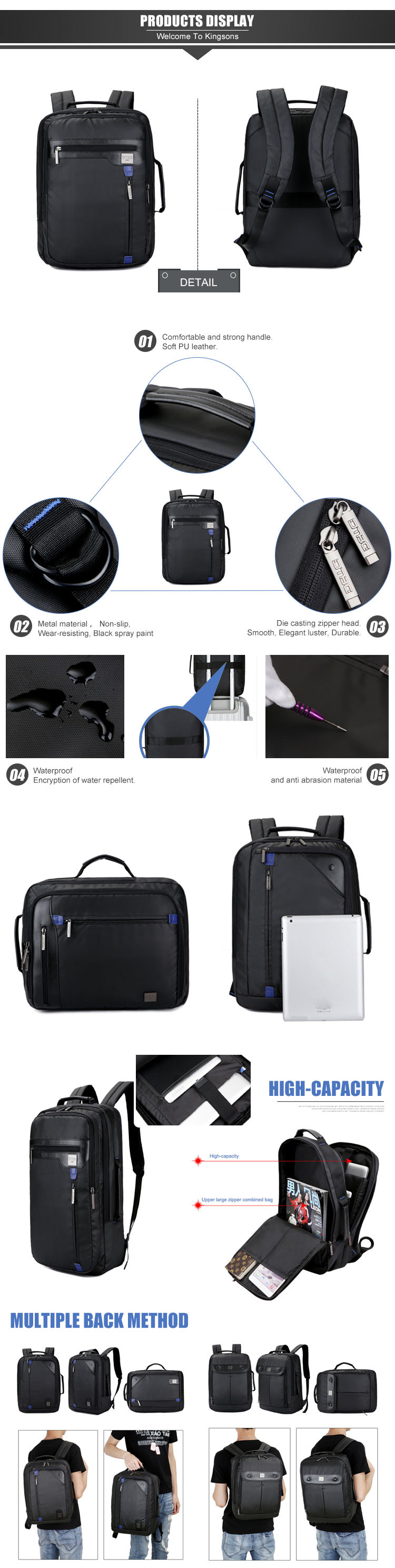 Super scratch resistance nylon material famous brand cheapest laptop backpack