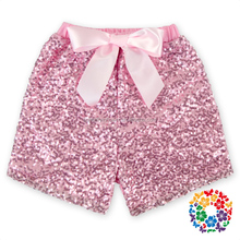 2016 Newest Gold Sequin And Shiny Fabrics Baby Shorts Sequin Shorts For Children Baby Kids Gold Sequin Shorts With Bow