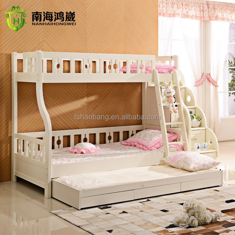 3 level kids wooden mdf pull out bunk bed furniture with drawer stairs