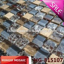 Light emperador marble mix crystal glass mosaic tiles for interior wall and kitchen backsplash
