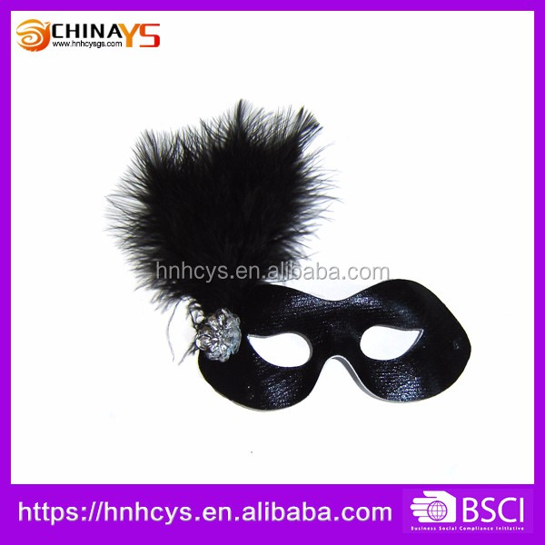 Manufacturer Made In China Black Ostrich Feather Venetian Mask for face Elegant ladies