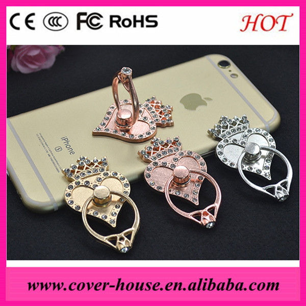 Charming crystal Crown heart cell phone ring holders 360 degree smartphone stand tablet holder