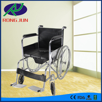 Handicapped folding chromed quick release wheelchair with commode for disabled