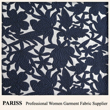 PARISS silver fiber woven jacquard floral elegant dress fabric