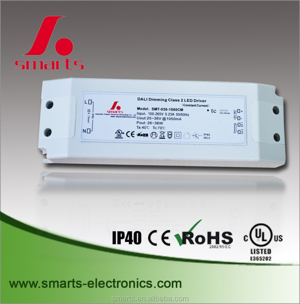 IP40 non-waterproof single output dimmable led strip driver dali dimming driver 35w 1050mA