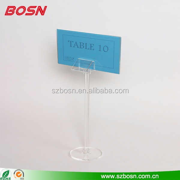 Good quality acrylic Pedestal stand show card table number holders decoration
