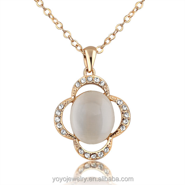 Meaningful pendant necklace jewelry with opal and crystal