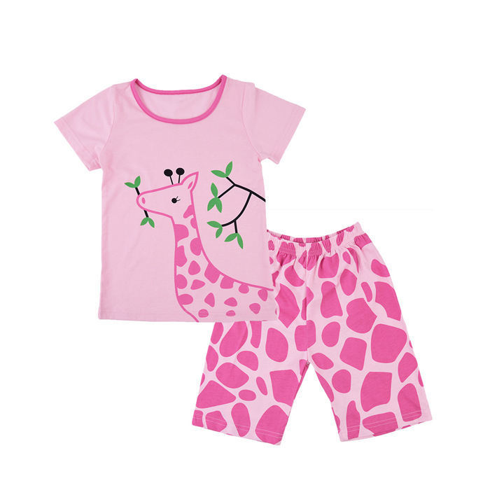 Girl summer pink t shirt custom printing animal clothing set baby polyester kid clothes