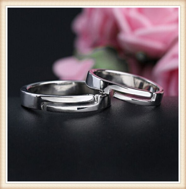 Guangzhou SLand new design jewellery 2016 Rhodium/Platiunm plated 925 sterling silver adjustable band ring for couples