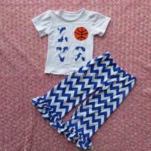 2015 Autumn new design baby clothes white T-shirt with basketball printing and navy white stripe long pants outfits