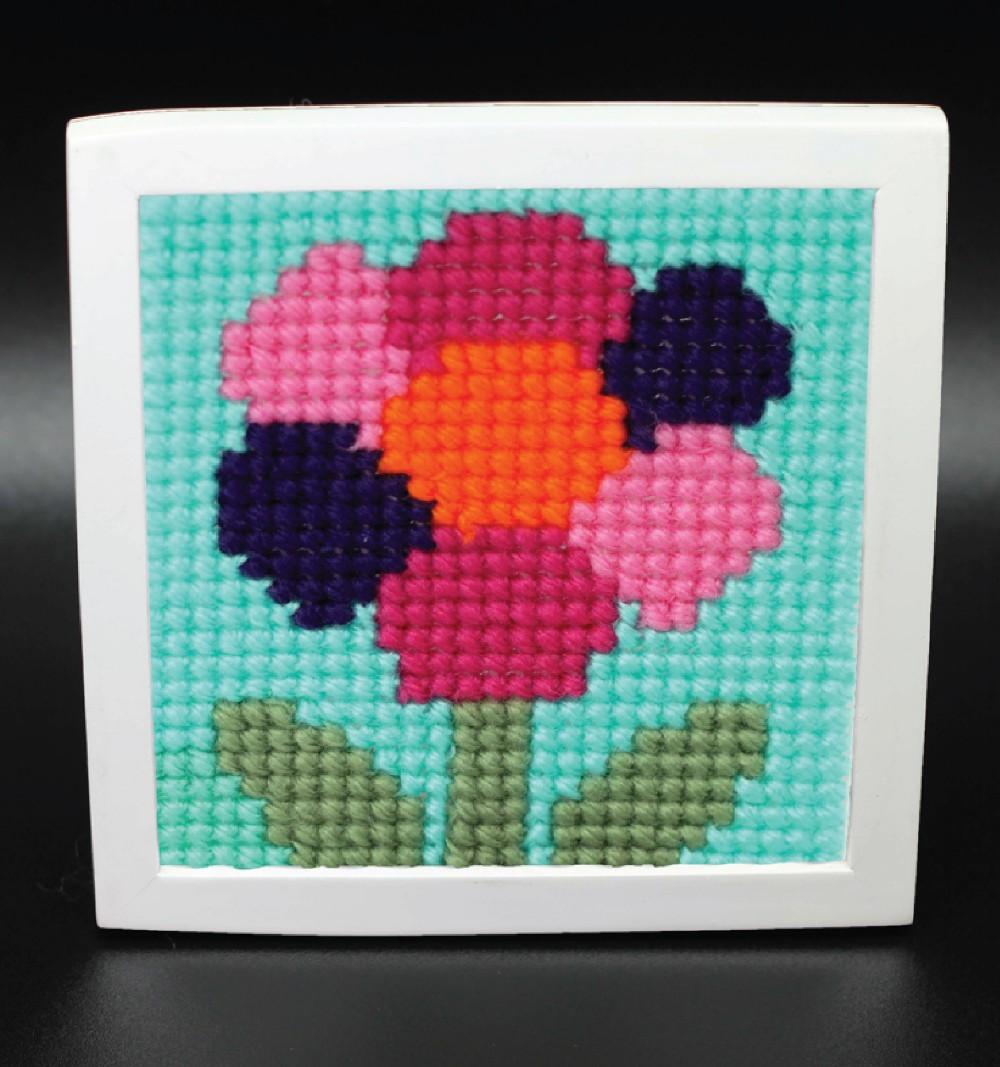 Diy flor alegre lona de plástico ponto cruz agulha ponto kit