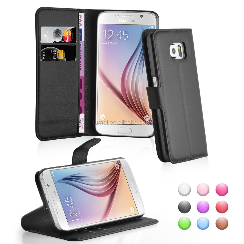 PU Wallet Leather Case for Samsung Galaxy S6 phones mobile