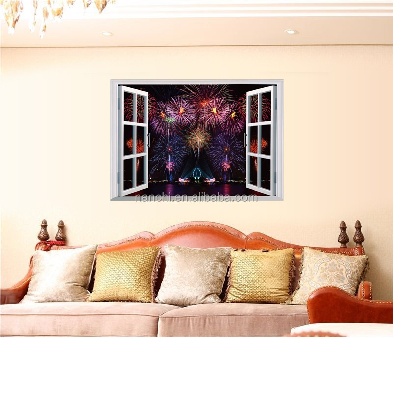 Fireworks 3D Fake window wall stickers Living Room wall decoration decals pvc removable waterproof sticker