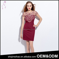 OEM Fashion Design Short Sleeve Elegant Stitching Embroidery Cotton Dinner Dress
