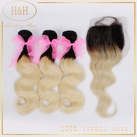 1b 613 two tone hair ombre hair weaves dark root blonde weave virgin brazilian body wave hair weft
