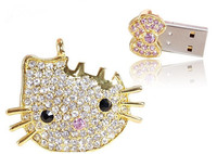 Jewelry Hello Kitty USB Drive, Crystal USB 8G/16G/32G/64G, Metal Necklace Gift Pen Drive Flash,