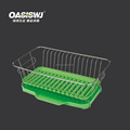 Stainless Steel Multi-function Kitchen Dish Rack with color Silicone Storage