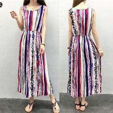 women white red stripe maxi beach dress/sea pai printed summer linen sleeveless fashion casual dress