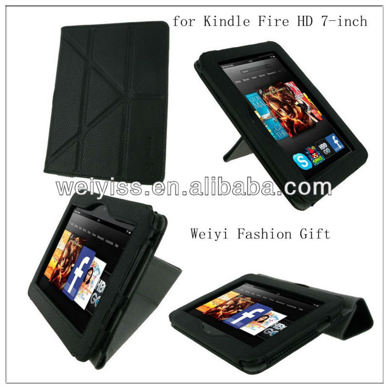 Custom Leather Folio Case Cover for Amazon Kindle Fire HD 7 Inch Tablet