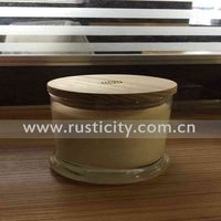 Glass candle jar with wooden lid,wholesale votive candle holder
