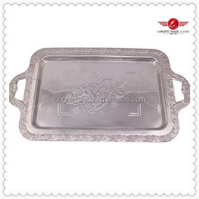 Beautiful Stainless Steel Serving Tray With Handle Silvery Food Tray