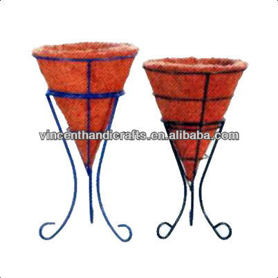 Two sizes original wire flower pot with coco liner for decor