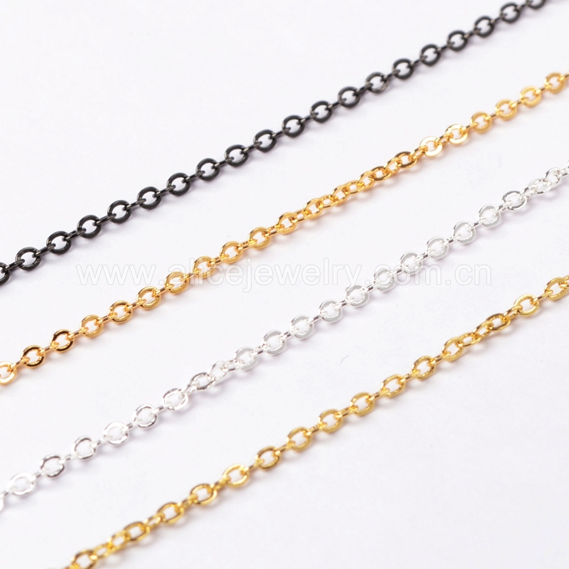 14 Inch 14K Gold Plated Copper Brass Finished Chain Necklace Finding Golden Flat Cable Chain With Losbter Clasp