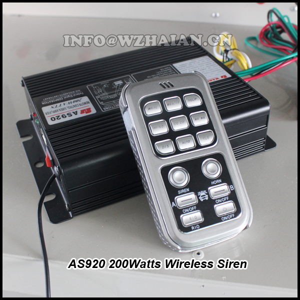 200Watts Wireless Siren amplifier speaker with remote controller 12V DC AS920