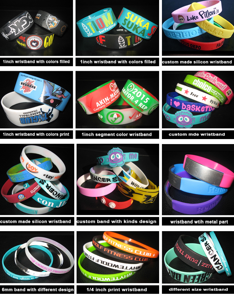 bulk cheap silicone wristband with customized design