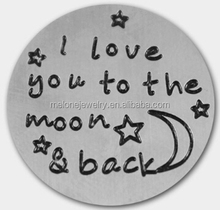 22mm I Love You To The Moon And Back Stainless Steel Floating Locket Plates Fit 30mm Living Memory Glass Floating Locket