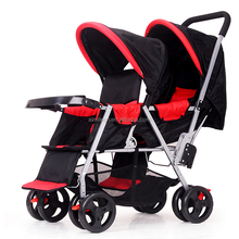 2017wholesale double baby stroller with double seat foldable twins stroller