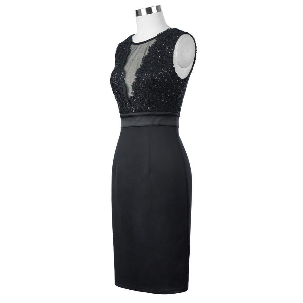 Kate Kasin Sexy Sleeveless Sheer Front V-Back Bodycon Pencil Sequins Black Short Evening Prom Party Dress KK001071-1