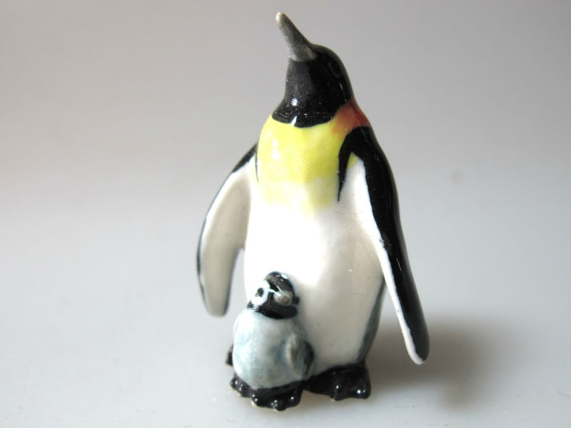 Handmade Miniature Craft Collectible Porcelain Ceramic Penguin King FIGURINE