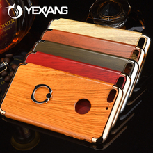 Separate Parts Ring Stand Electroplating Wooden Case For Iphone 7 3 In 1 Back Cover