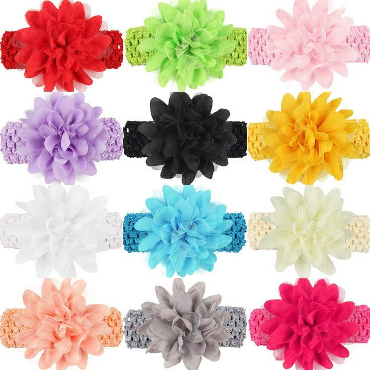 2016 12 colors Girls Headband Kids Infants Crochet weave Hairband & Big Chiffon flowers Headbands Children hair Accessories