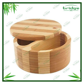 Stripe kitchen salt box design bamboo salt box