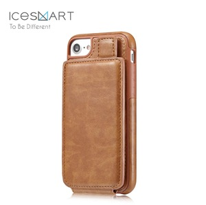 Detachable Wallet Genuine Brown Real Leather Mobile Phone Cover Case for Iphone 8 plus X