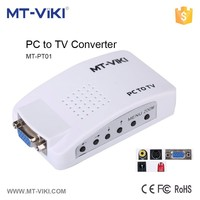 White plastic housing vga to av converter 1080p vga to s-video output converter NTSC/PAL format supported vga converter MT-PT01