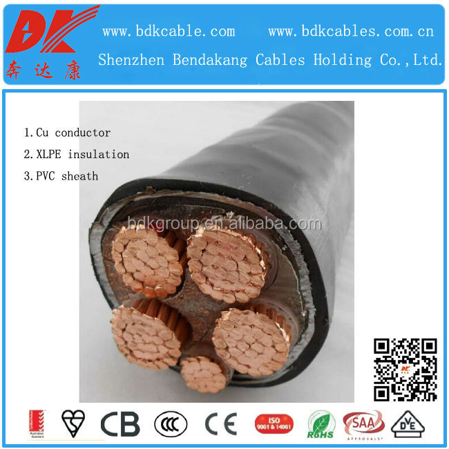 600/1000v copper/cu core xlpe insulatin pvc jacket/sheath power cable 0.6/1kv copper cable