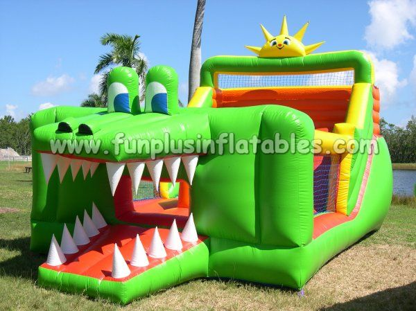 Crocodile shape pvc inflatable slip and slide F4078